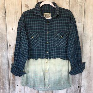 Vintage Grunge Dip Dyed Flannel Shirt Sz M Flaws